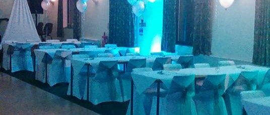 Function room set up for a wedding reception